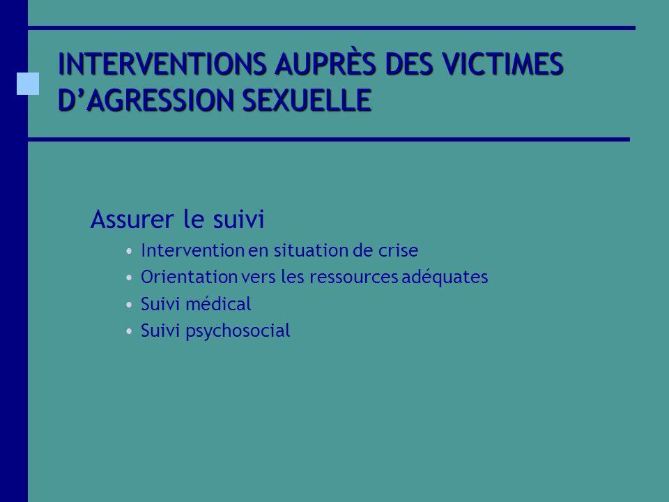 INTERVENTIONS AUPRÈS DES VICTIMES DAGRESSION SEXUELLE Assurer le suivi Intervention en situation de crise Orientation vers les ressources adéquates Su
