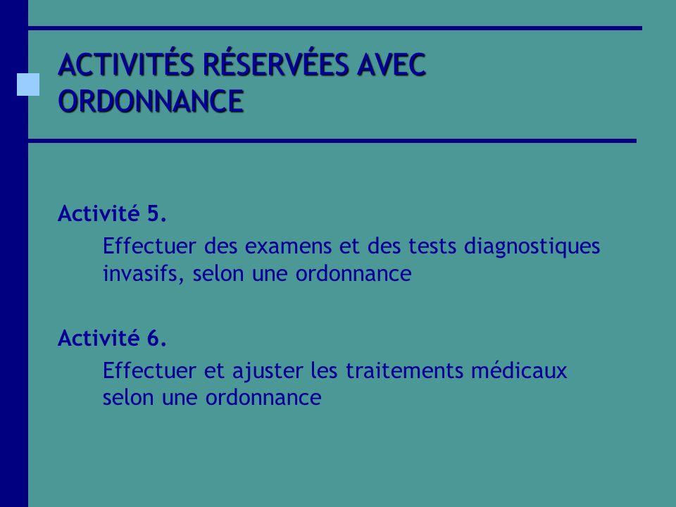 ACTIVITÉS RÉSERVÉES AVEC ORDONNANCE Activité 5. Effectuer des examens et des tests diagnostiques invasifs, selon une ordonnance Activité 6. Effectuer