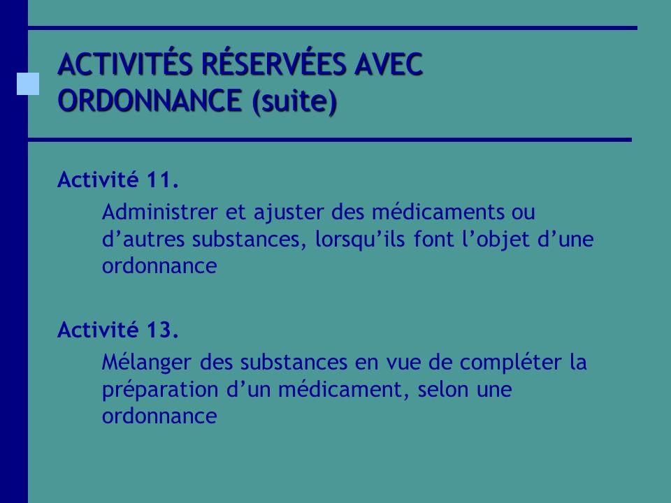 ACTIVITÉS RÉSERVÉES AVEC ORDONNANCE (suite) Activité 11. Administrer et ajuster des médicaments ou dautres substances, lorsquils font lobjet dune ordo
