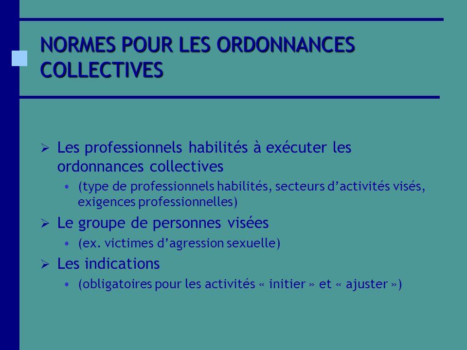 NORMES POUR LES ORDONNANCES COLLECTIVES Les professionnels habilités à exécuter les ordonnances collectives (type de professionnels habilités, secteur