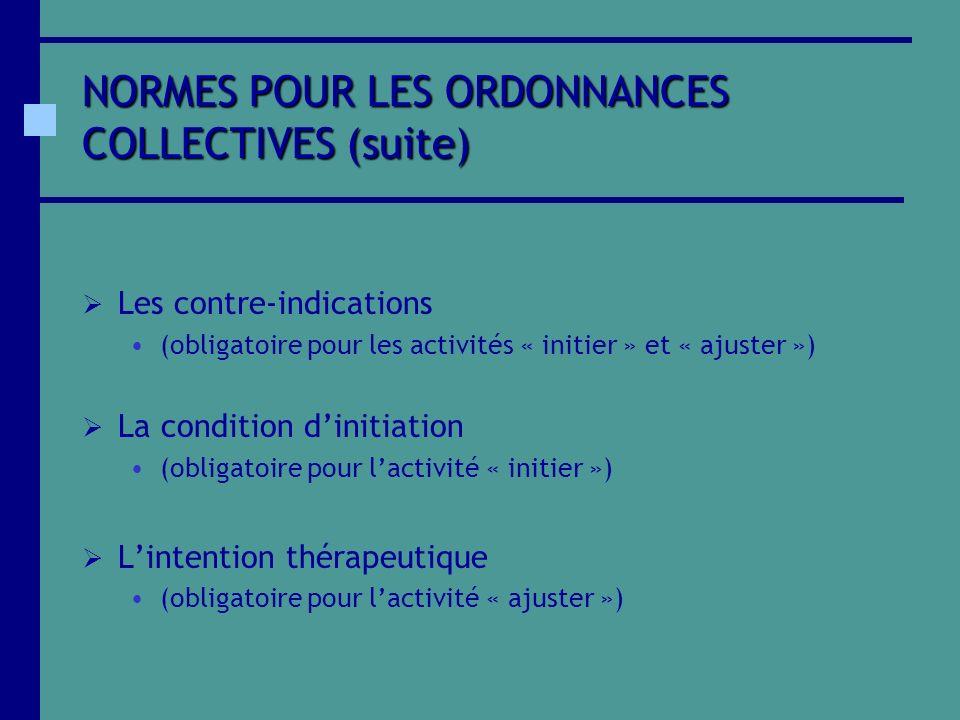 NORMES POUR LES ORDONNANCES COLLECTIVES (suite) Les contre-indications (obligatoire pour les activités « initier » et « ajuster ») La condition diniti