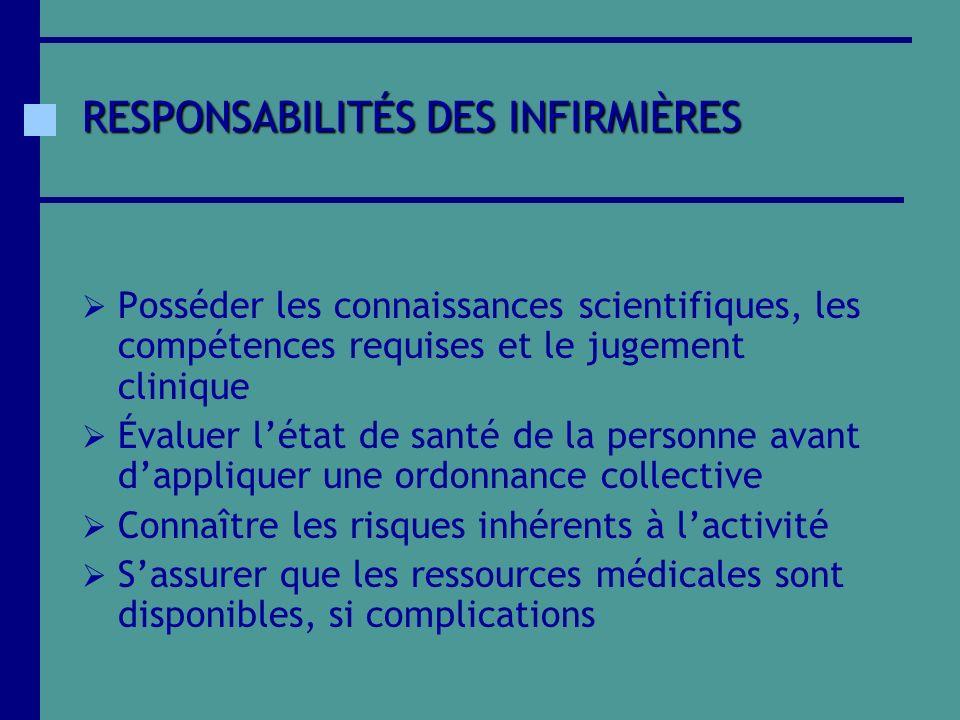 RESPONSABILITÉS DES INFIRMIÈRES Posséder les connaissances scientifiques, les compétences requises et le jugement clinique Évaluer létat de santé de l