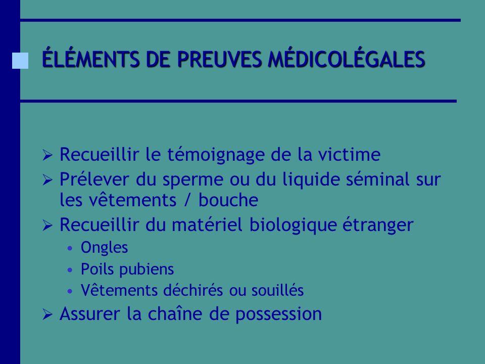 ÉLÉMENTS DE PREUVES MÉDICOLÉGALES Recueillir le témoignage de la victime Prélever du sperme ou du liquide séminal sur les vêtements / bouche Recueilli