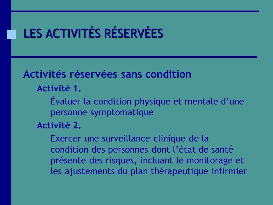 LES ACTIVITÉS RÉSERVÉES Activités réservées sans condition Activité 1. Évaluer la condition physique et mentale dune personne symptomatique Activité 2
