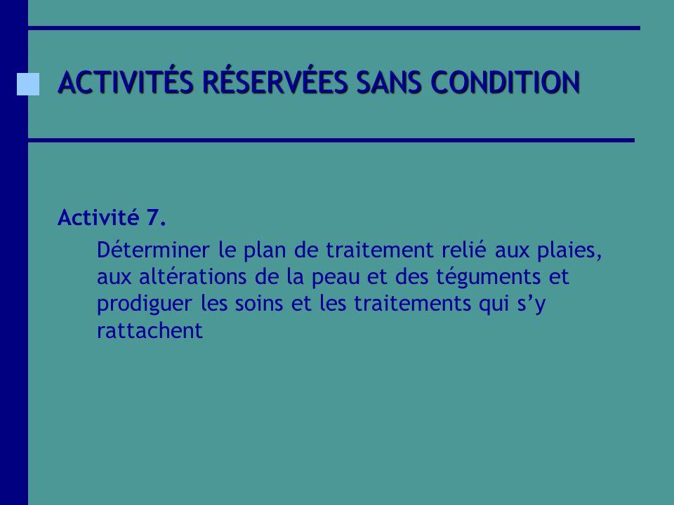 ACTIVITÉS RÉSERVÉES SANS CONDITION Activité 7. Déterminer le plan de traitement relié aux plaies, aux altérations de la peau et des téguments et prodi