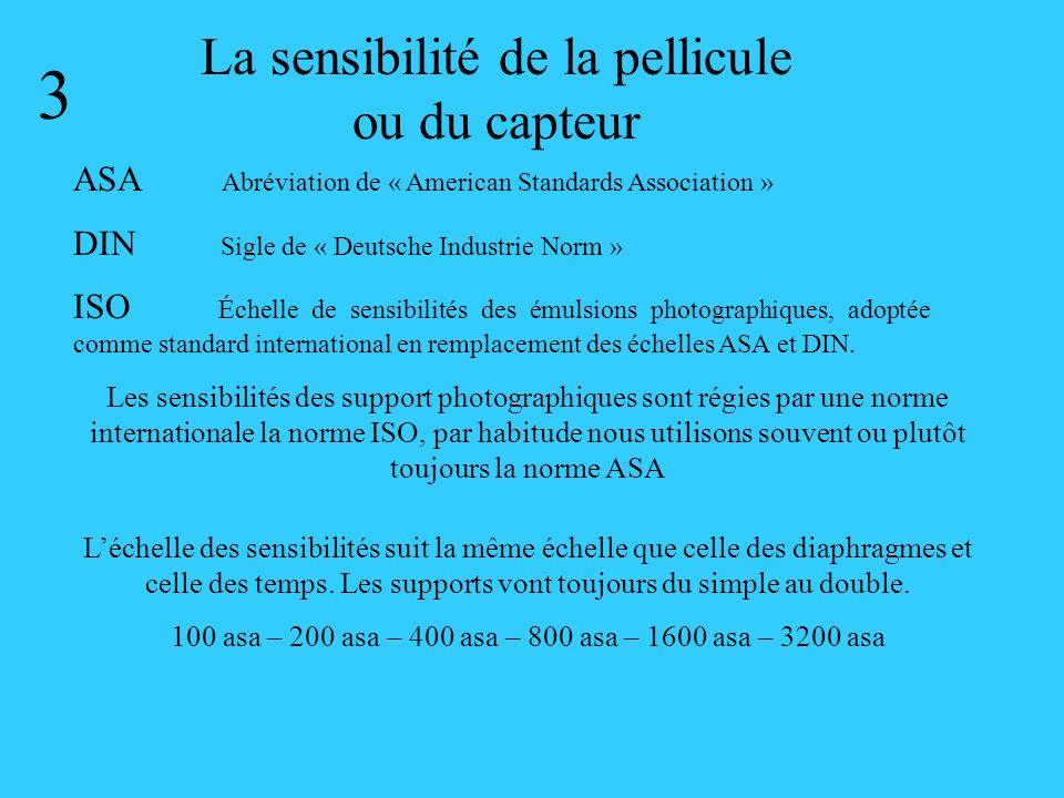 La sensibilité de la pellicule ou du capteur 3 ASA Abréviation de « American Standards Association » DIN Sigle de « Deutsche Industrie Norm » ISO Éche