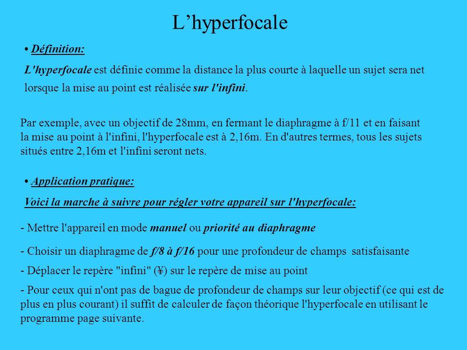 Lhyperfocale Définition: L'hyperfocale est définie comme la distance la plus courte à laquelle un sujet sera net lorsque la mise au point est réalisée