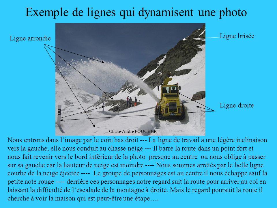 Exemple de lignes qui dynamisent une photo Nous entrons dans limage par le coin bas droit --- La ligne de travail a une légère inclinaison vers la gau