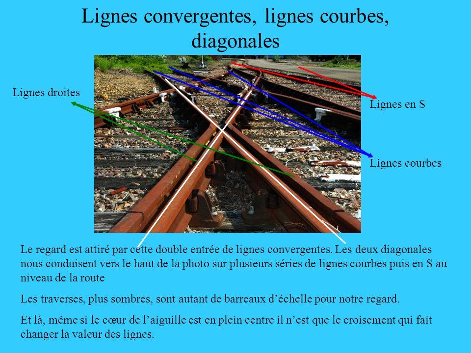Lignes convergentes, lignes courbes, diagonales Le regard est attiré par cette double entrée de lignes convergentes. Les deux diagonales nous conduise