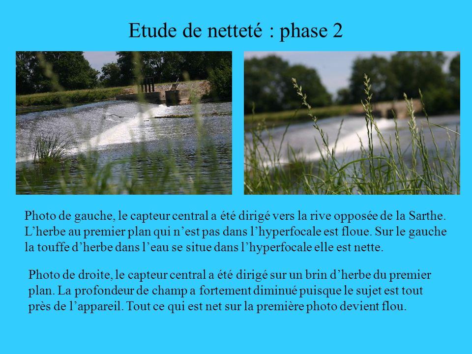 Etude de netteté : phase 2 Photo de gauche, le capteur central a été dirigé vers la rive opposée de la Sarthe. Lherbe au premier plan qui nest pas dan