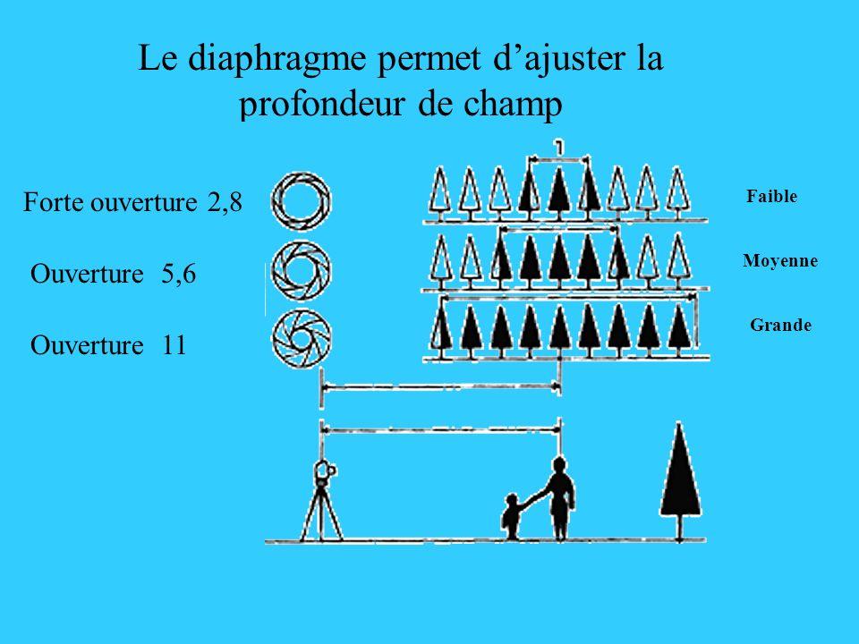 Le diaphragme permet dajuster la profondeur de champ Forte ouverture 2,8 Ouverture 5,6 Faible Moyenne Grande Ouverture 11