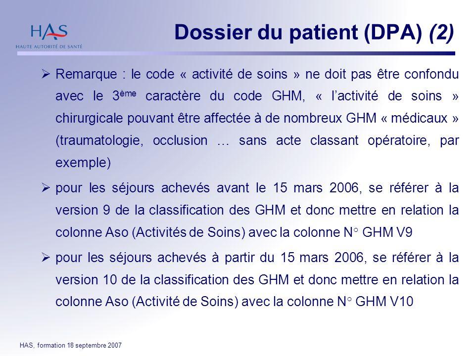 HAS, formation 18 septembre 2007 Remarque : le code « activité de soins » ne doit pas être confondu avec le 3 ème caractère du code GHM, « lactivité d