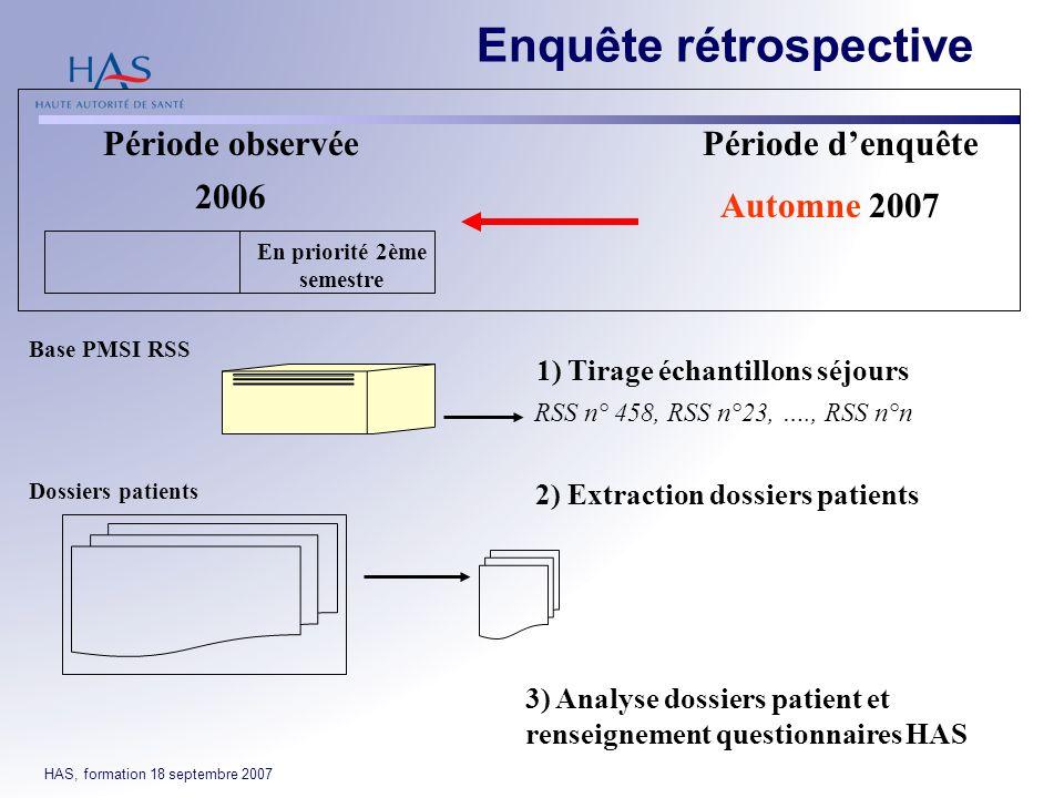 HAS, formation 18 septembre 2007 Enquête rétrospective Période observéePériode denquête 2006 En priorité 2ème semestre Automne 2007 2) Extraction doss