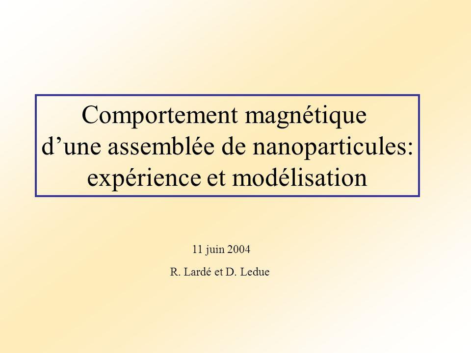 Comportement magnétique dune assemblée de nanoparticules: expérience et modélisation R. Lardé et D. Ledue 11 juin 2004