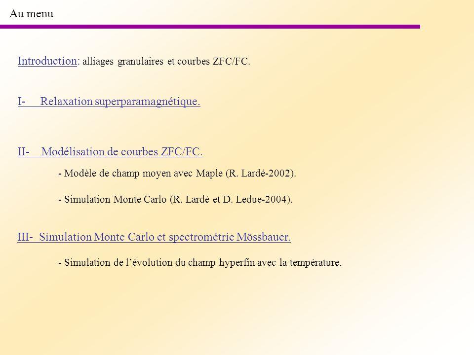 Au menu Introduction: alliages granulaires et courbes ZFC/FC. I- Relaxation superparamagnétique. II- Modélisation de courbes ZFC/FC. - Modèle de champ