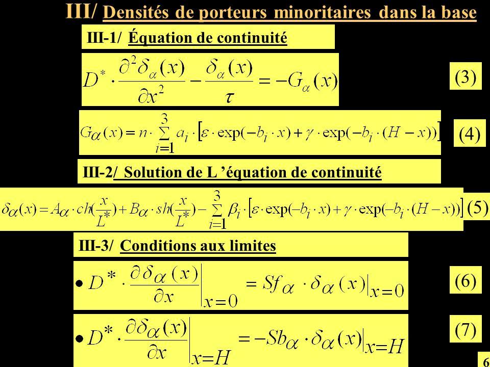 a/ Vitesses de recombinaison Sf 1 et Sb 2 en fonction du champ magnétique B Fig.4: Vitesses de recombinaison Sf 1 à la jonction et Sb 2 en face arrière en fonction du champ magnétique B (8) (9) 7