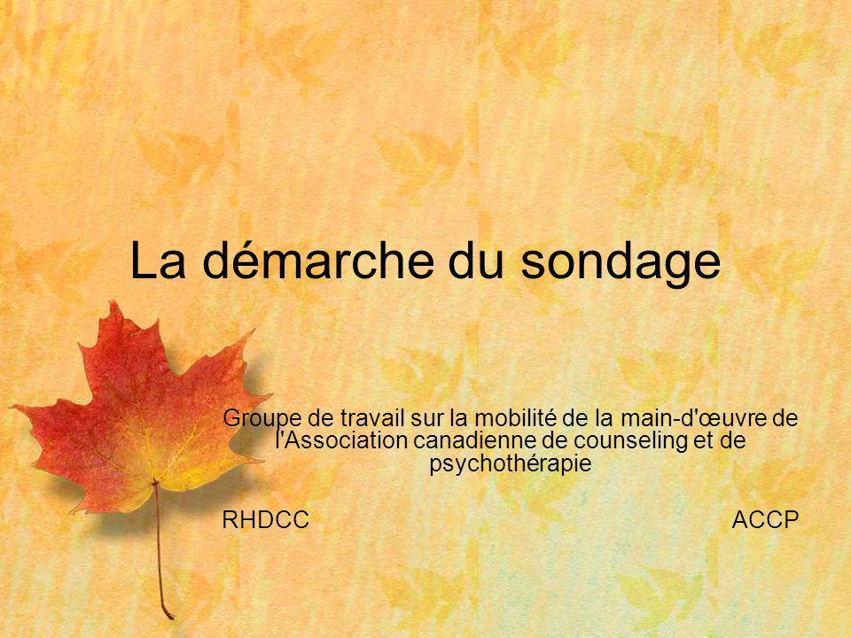 Groupe de travail sur la mobilité de la main-d'œuvre de l'Association canadienne de counseling et de psychothérapie RHDCCACCP La démarche du sondage
