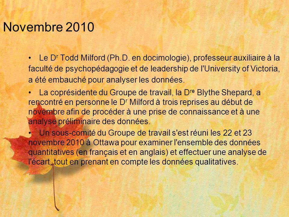 Novembre 2010 Le D r Todd Milford (Ph.D. en docimologie), professeur auxiliaire à la faculté de psychopédagogie et de leadership de l'University of Vi