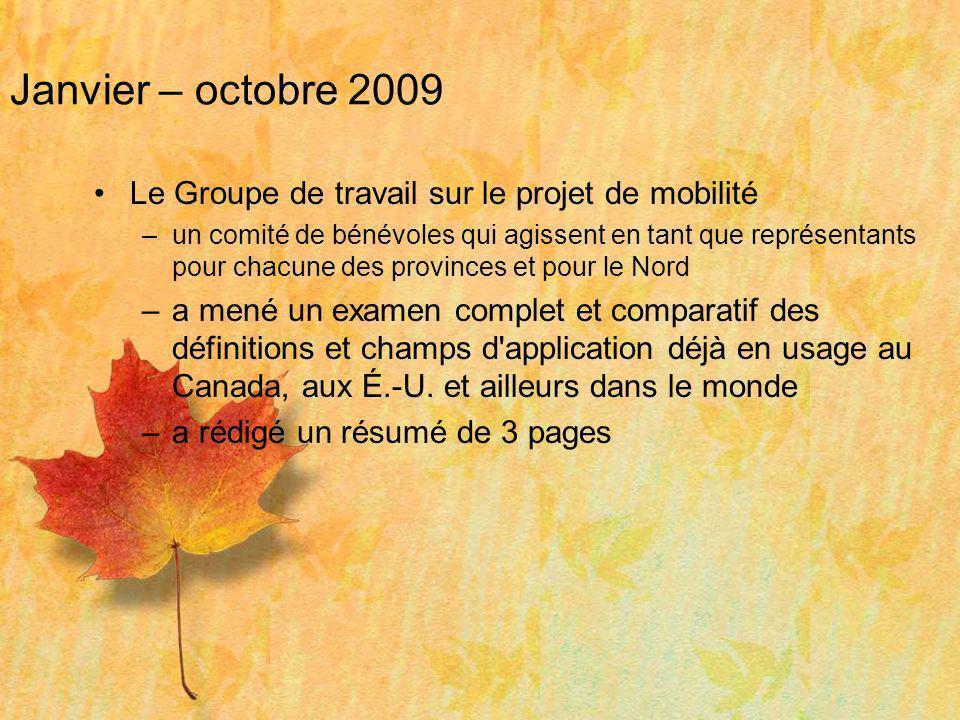 Janvier – octobre 2009 Le Groupe de travail sur le projet de mobilité –un comité de bénévoles qui agissent en tant que représentants pour chacune des