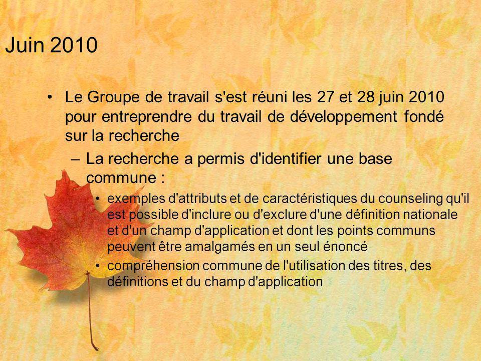 Juin 2010 Le Groupe de travail s'est réuni les 27 et 28 juin 2010 pour entreprendre du travail de développement fondé sur la recherche –La recherche a