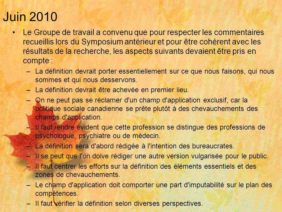 Juin 2010 Le Groupe de travail a convenu que pour respecter les commentaires recueillis lors du Symposium antérieur et pour être cohérent avec les rés