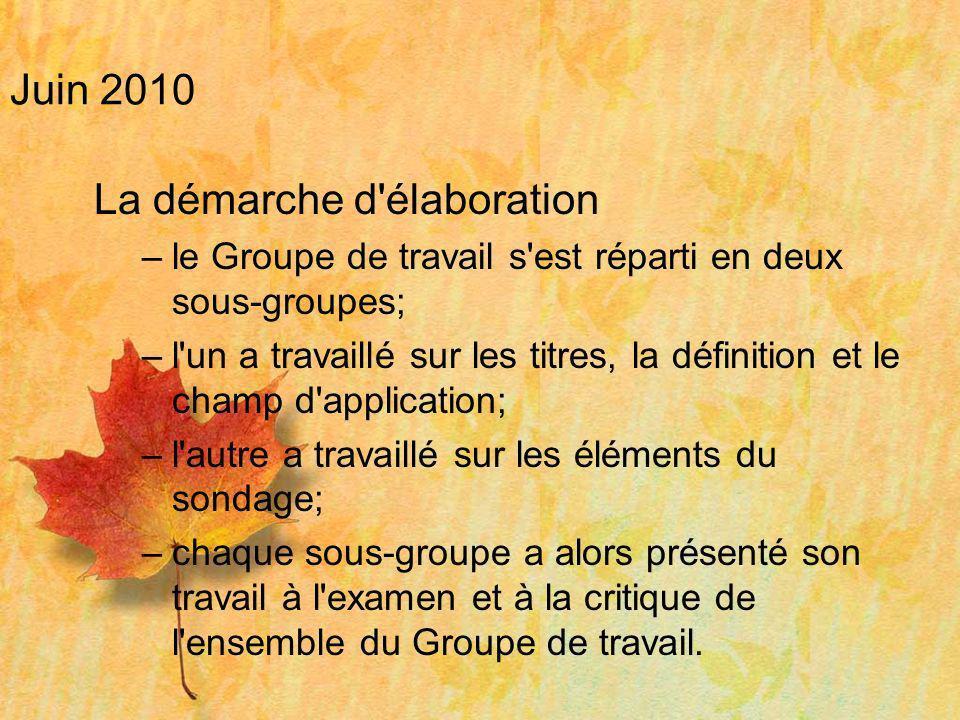 Juin 2010 La démarche d'élaboration –le Groupe de travail s'est réparti en deux sous-groupes; –l'un a travaillé sur les titres, la définition et le ch