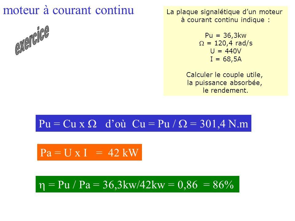 La plaque signalétique dun moteur à courant continu indique : Pu = 36,3kw = 120,4 rad/s U = 440V I = 68,5A Calculer le couple utile, la puissance abso