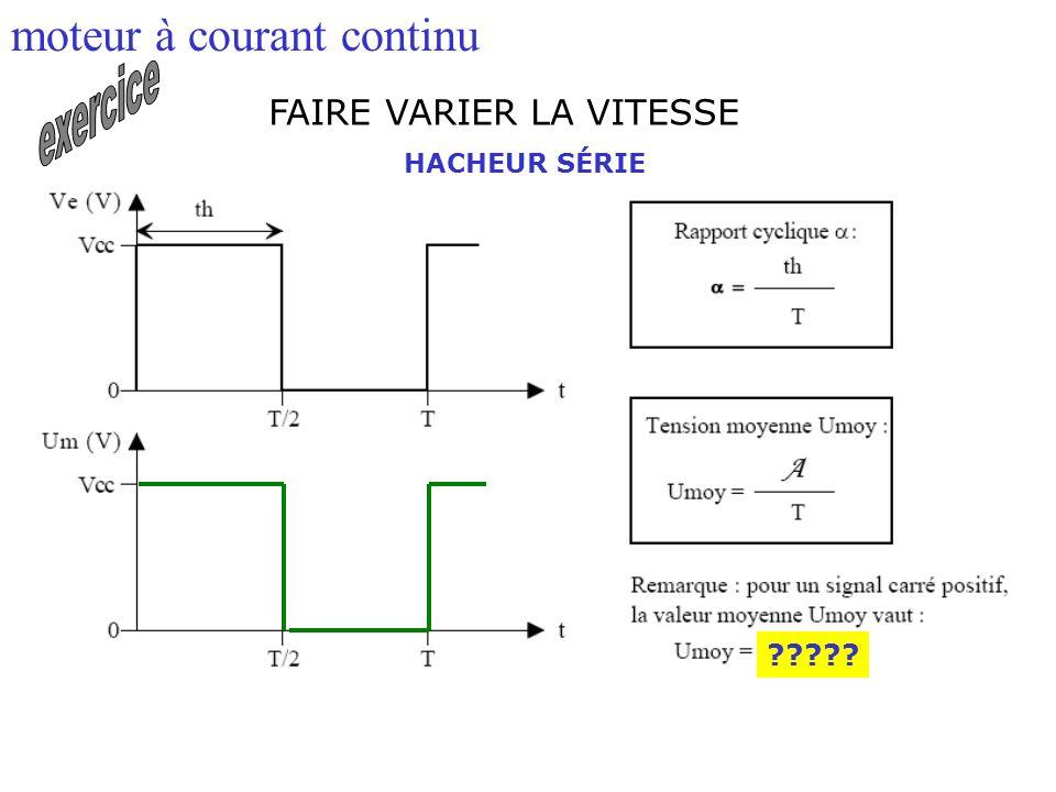 FAIRE VARIER LA VITESSE moteur à courant continu HACHEUR SÉRIE ?????