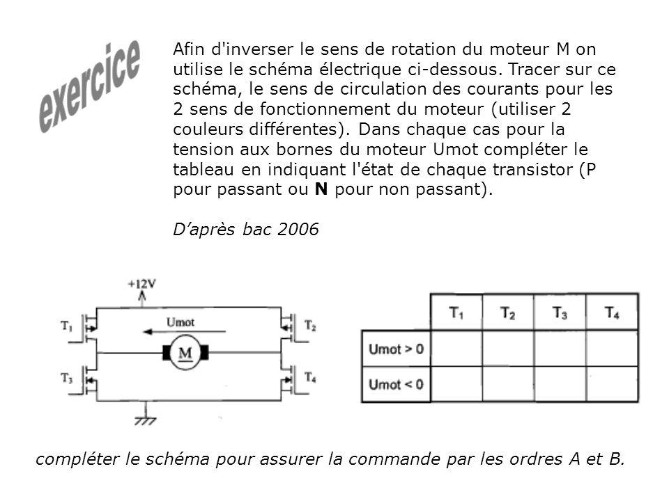 Afin d'inverser le sens de rotation du moteur M on utilise le schéma électrique ci-dessous. Tracer sur ce schéma, le sens de circulation des courants