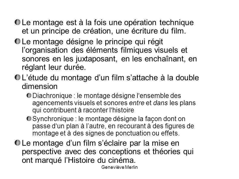 Le montage est à la fois une opération technique et un principe de création, une écriture du film.