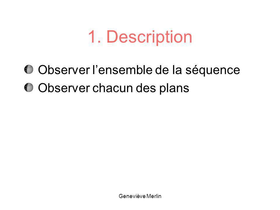 1. Description Observer lensemble de la séquence Observer chacun des plans Geneviève Merlin