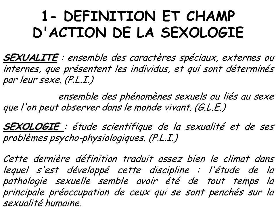 1- DEFINITION ET CHAMP D'ACTION DE LA SEXOLOGIE SEXUALITE SEXUALITE : ensemble des caractères spéciaux, externes ou internes, que présentent les indiv