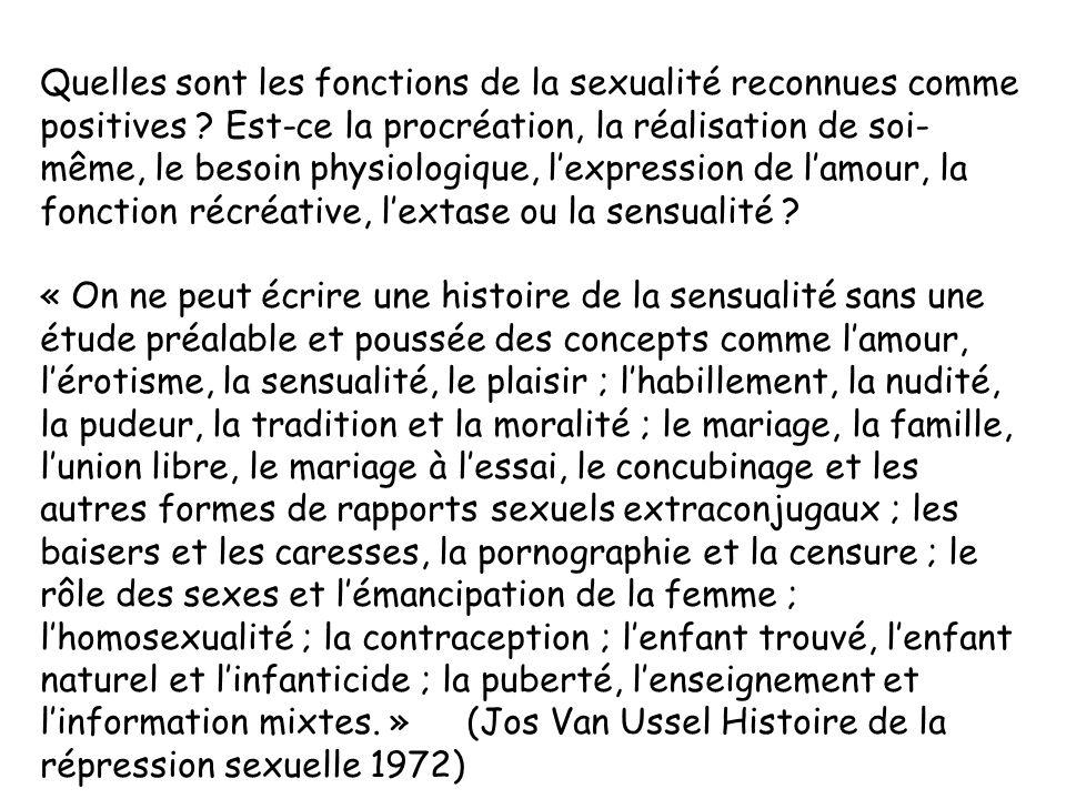 Quelles sont les fonctions de la sexualité reconnues comme positives ? Est-ce la procréation, la réalisation de soi- même, le besoin physiologique, le