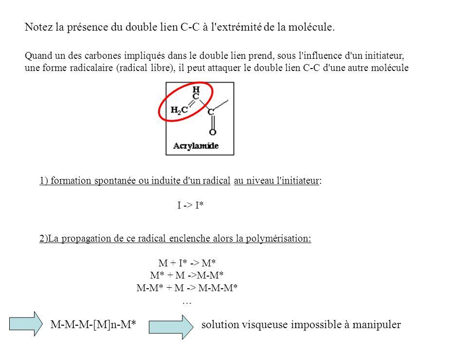 2)La propagation de ce radical enclenche alors la polymérisation: M + I* -> M* M* + M ->M-M* M-M* + M -> M-M-M* … Notez la présence du double lien C-C