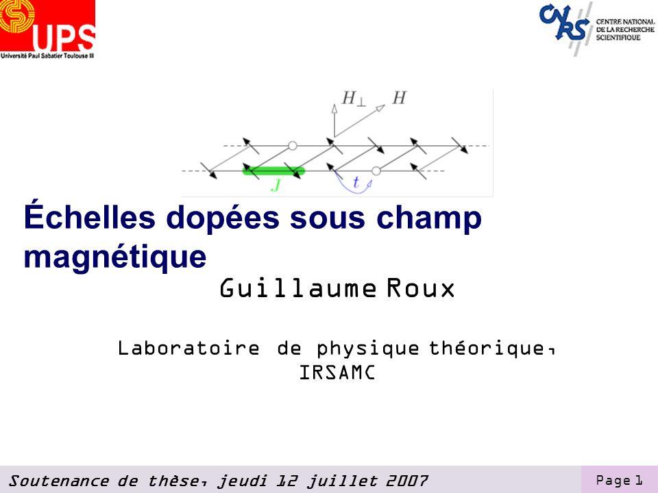 Soutenance de thèse, jeudi 12 juillet 2007 Page 1 Échelles dopées sous champ magnétique Guillaume Roux Laboratoire de physique théorique, IRSAMC