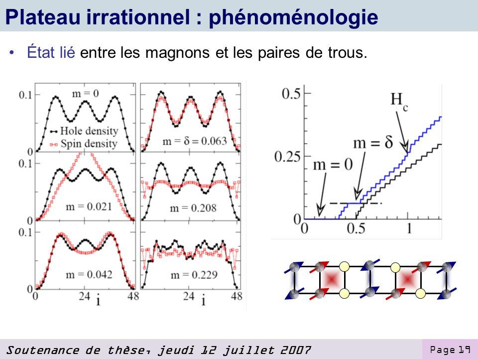 Soutenance de thèse, jeudi 12 juillet 2007 Page 19 Plateau irrationnel : phénoménologie État lié entre les magnons et les paires de trous.