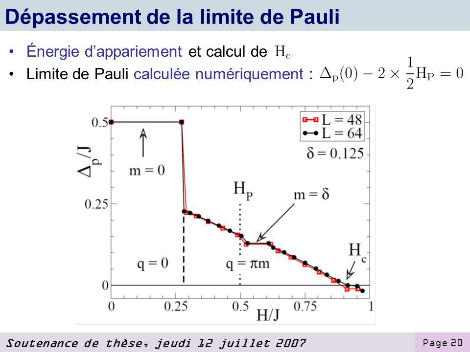 Soutenance de thèse, jeudi 12 juillet 2007 Page 20 Dépassement de la limite de Pauli Énergie dappariement et calcul de.