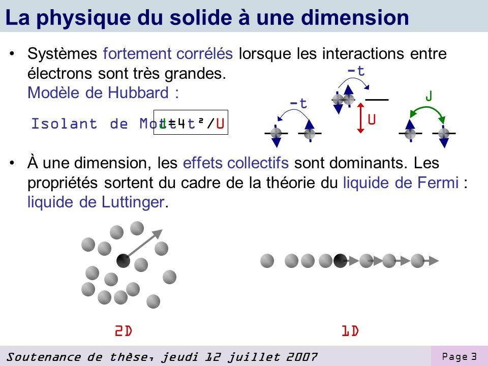 Soutenance de thèse, jeudi 12 juillet 2007 Page 3 La physique du solide à une dimension Systèmes fortement corrélés lorsque les interactions entre électrons sont très grandes.