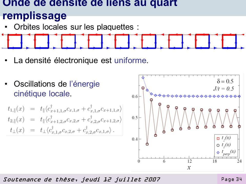 Soutenance de thèse, jeudi 12 juillet 2007 Page 34 Onde de densité de liens au quart remplissage Orbites locales sur les plaquettes : La densité électronique est uniforme.