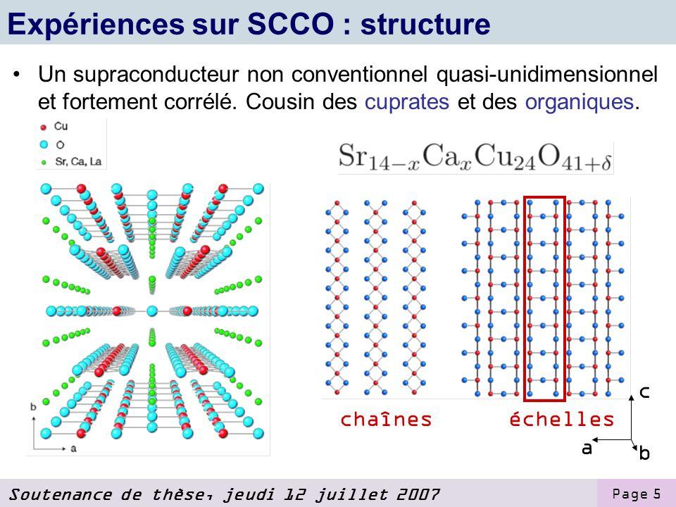 Soutenance de thèse, jeudi 12 juillet 2007 Page 5 Expériences sur SCCO : structure Un supraconducteur non conventionnel quasi-unidimensionnel et fortement corrélé.