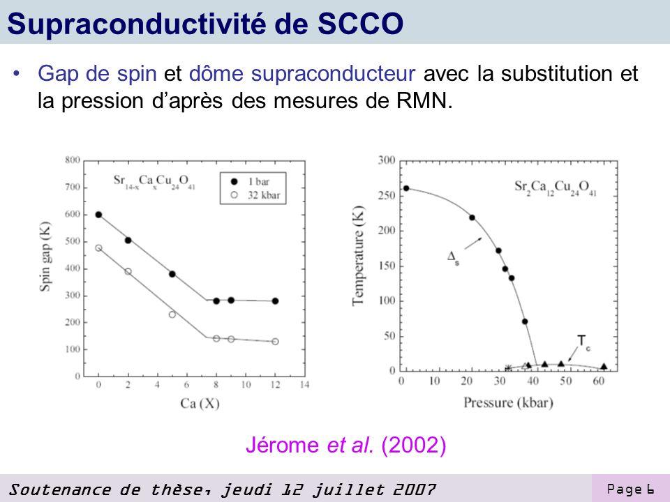 Soutenance de thèse, jeudi 12 juillet 2007 Page 6 Supraconductivité de SCCO Gap de spin et dôme supraconducteur avec la substitution et la pression daprès des mesures de RMN.