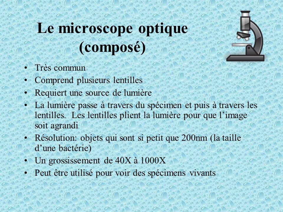 Le microscope optique (composé) Très commun Comprend plusieurs lentilles Requiert une source de lumière La lumière passe à travers du spécimen et puis