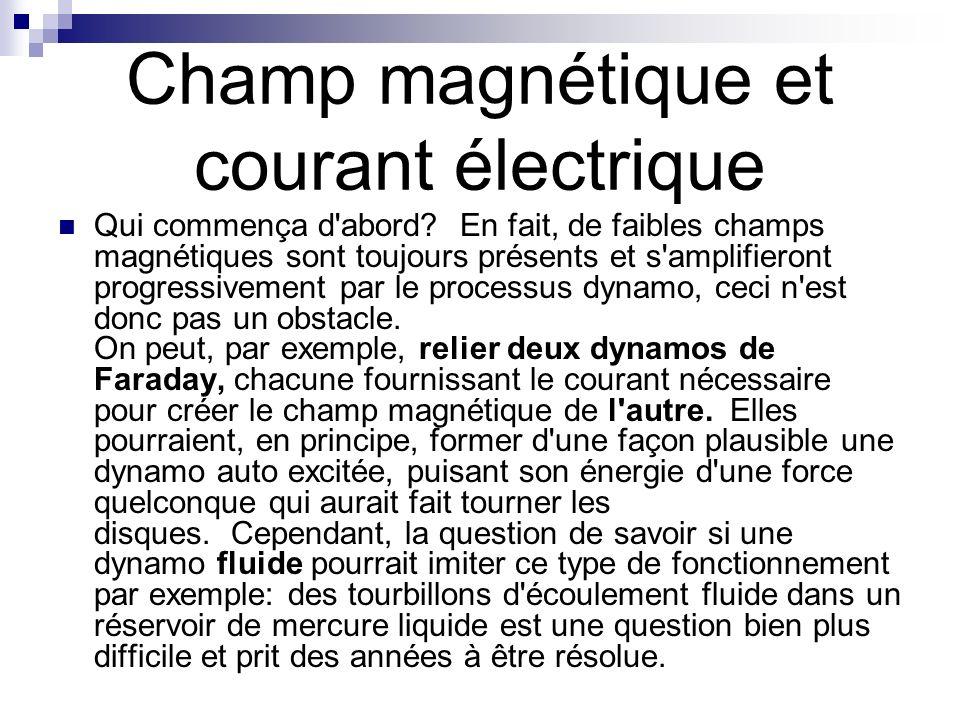 Champ magnétique et courant électrique Qui commença d'abord? En fait, de faibles champs magnétiques sont toujours présents et s'amplifieront progressi