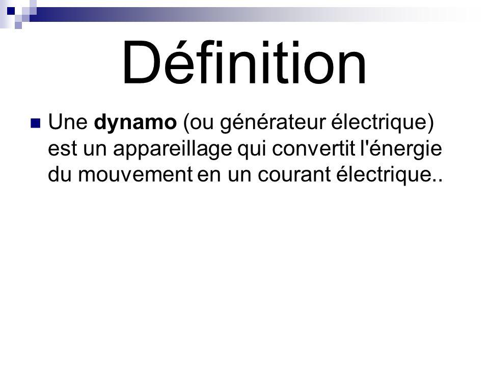 Définition Une dynamo (ou générateur électrique) est un appareillage qui convertit l'énergie du mouvement en un courant électrique..
