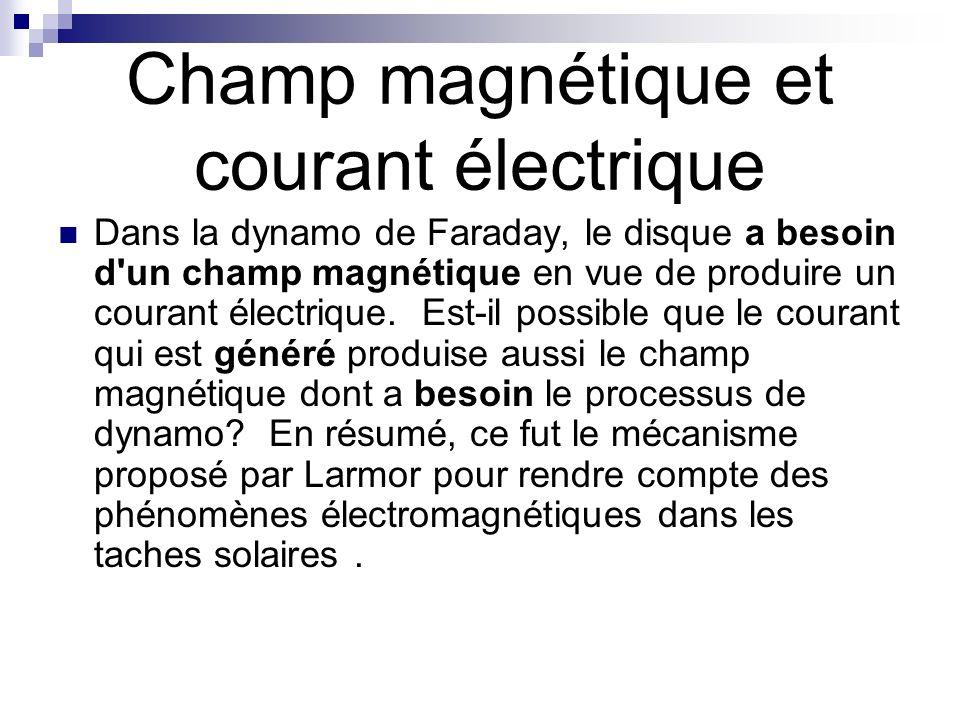 Champ magnétique et courant électrique Dans la dynamo de Faraday, le disque a besoin d'un champ magnétique en vue de produire un courant électrique. E