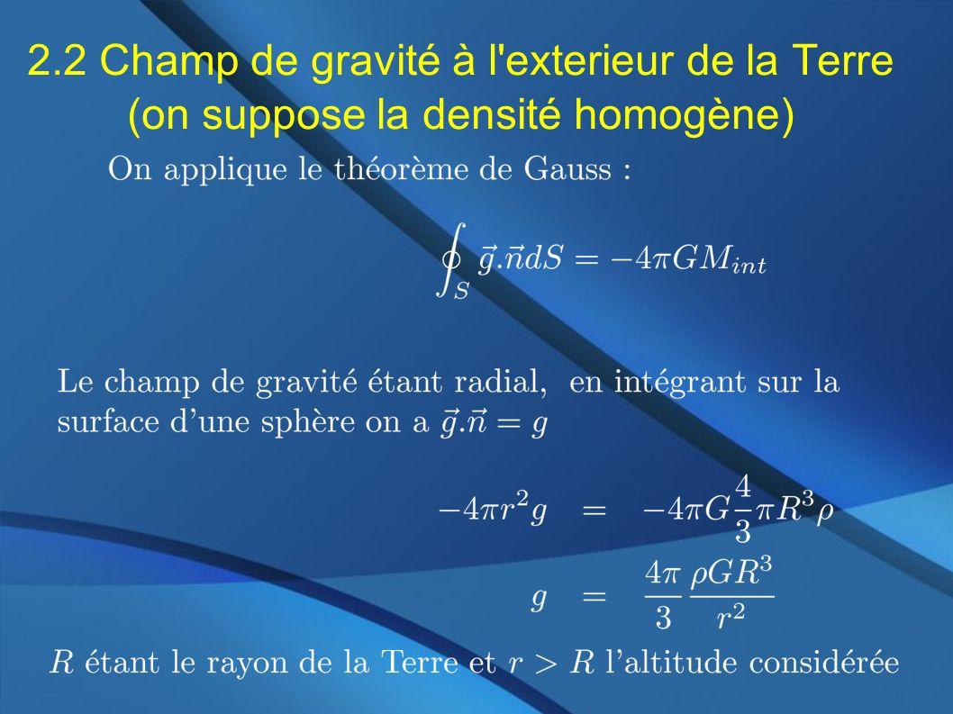 2.2 Champ de gravité à l exterieur de la Terre (on suppose la densité homogène)