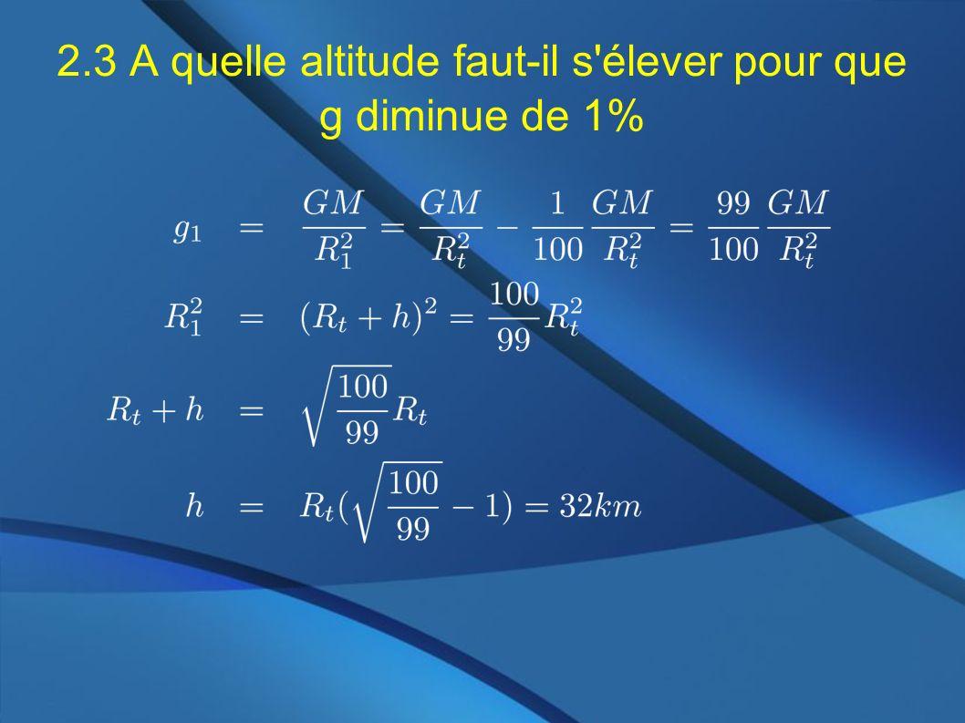 2.3 A quelle altitude faut-il s'élever pour que g diminue de 1%