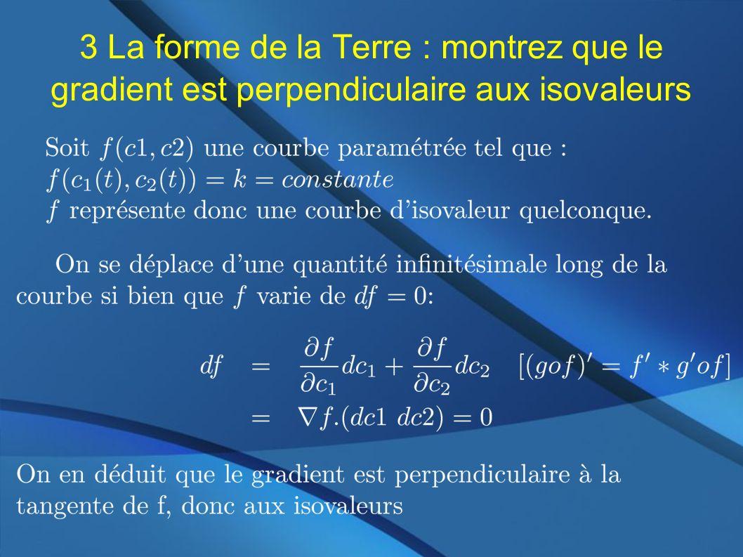 3 La forme de la Terre : montrez que le gradient est perpendiculaire aux isovaleurs