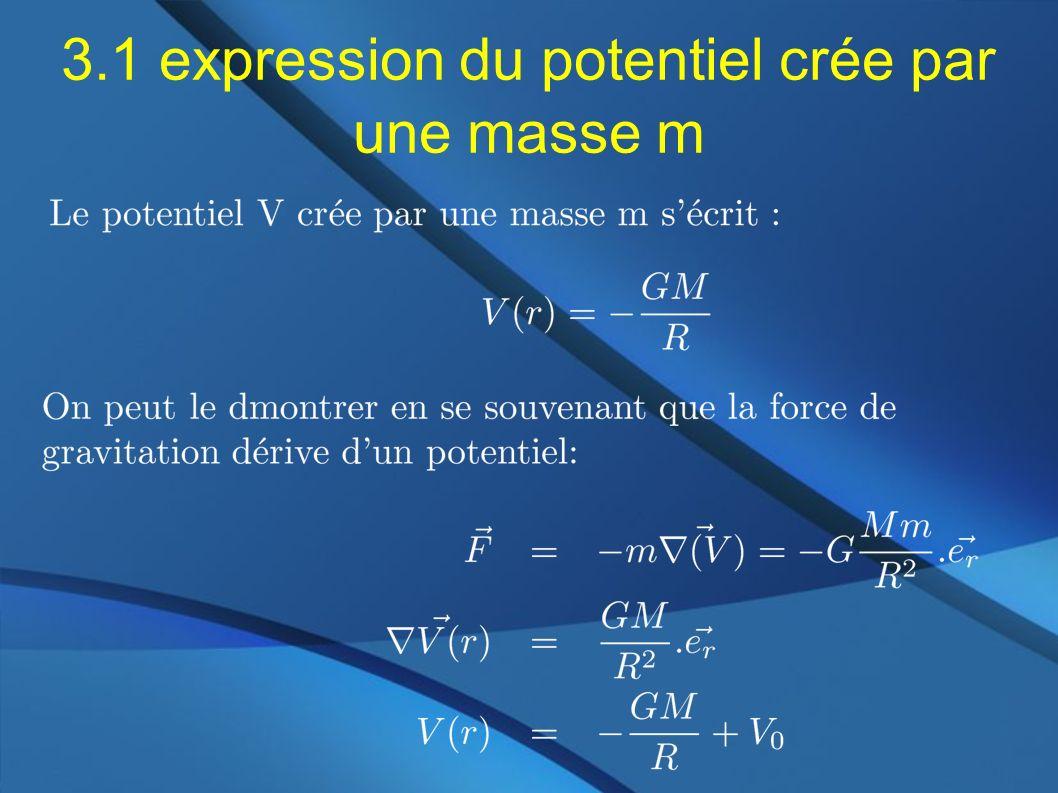 3.1 expression du potentiel crée par une masse m