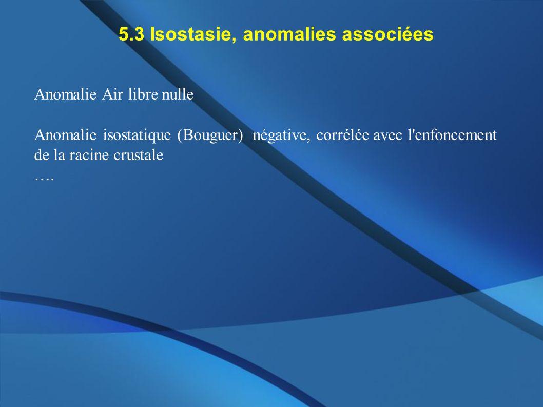 5.3 Isostasie, anomalies associées Anomalie Air libre nulle Anomalie isostatique (Bouguer) négative, corrélée avec l'enfoncement de la racine crustale